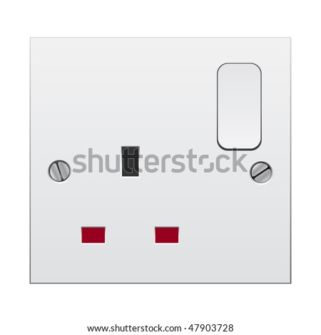 Single switch socket with clipping path isolated on white background - stock photo