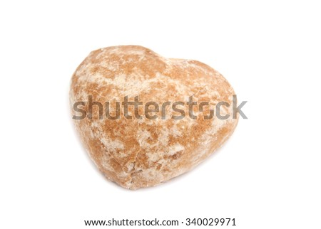 single tasty gingerbread closeup on white background  - stock photo