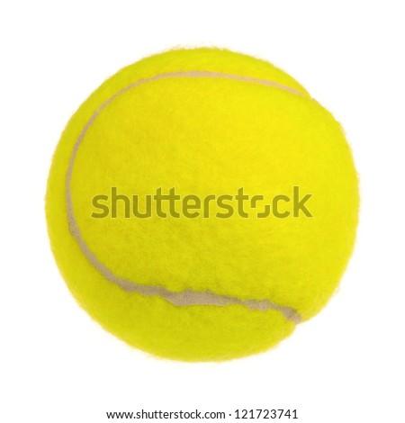 Single tennis ball isolated on white background - stock photo