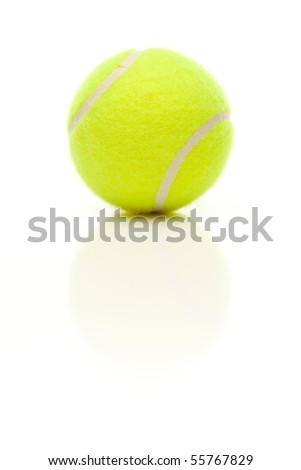 Single Tennis Ball with Slight Reflection Isolated on a White Background. - stock photo