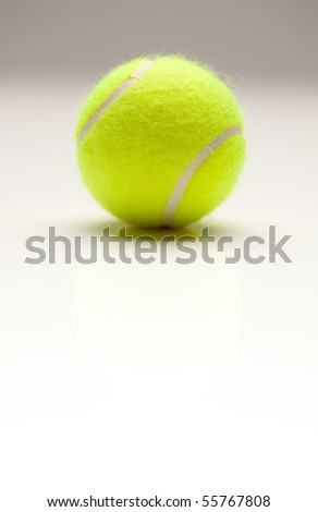 Single Tennis Ball with Slight Reflection on a Gradated Background. - stock photo