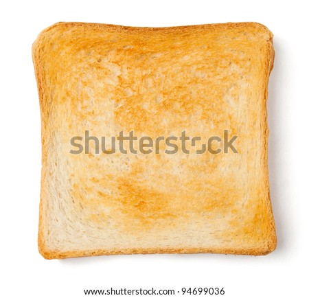 single toast against white background - stock photo