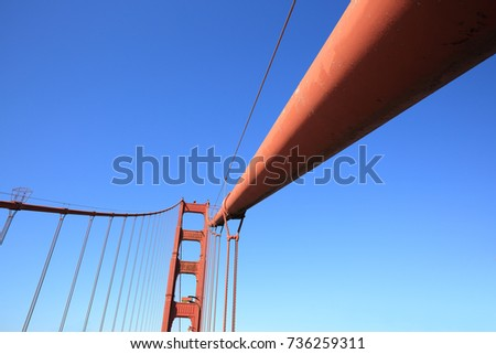 Single tower and suspension cables of the Golden Gate bridge