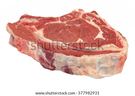 Single Uncooked Raw Beef Rib Eye Steak Isolated On White Background, Close Up, Top View