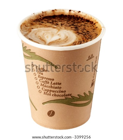 single use cap of coffee a specially to go (with clipping path for easy background removing if needed) - stock photo