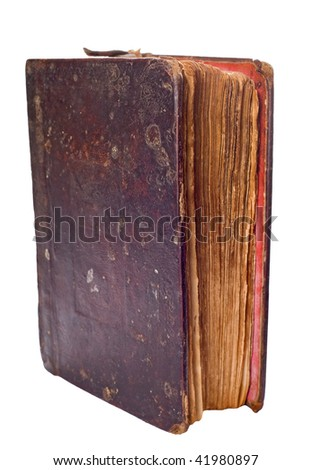 single very old book isolated on white background