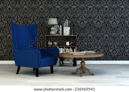 Single Vintage Blue Armchair In A Classic Living Room Interior With Arabesque Wallpaper Small Table