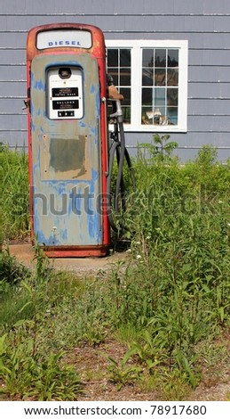 single vintage rural gas pump - stock photo