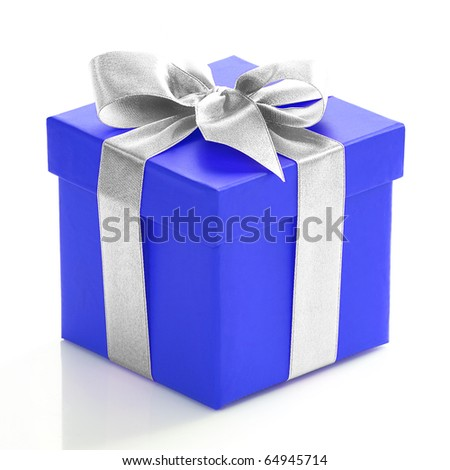 Single voilet gift box with gold ribbon on white background. - stock photo
