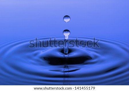 single water drop on blue surface