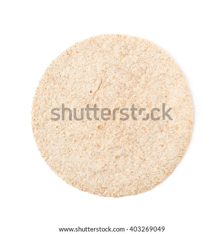 Single wheat tortilla bread isolated over the white background - stock photo