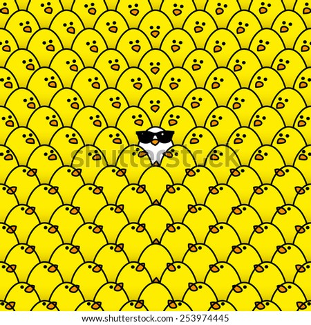 Single White Chick in cool Sunglasses Surrounded by Repeating Yellow Chicks all staring in its direction - Raster - stock photo