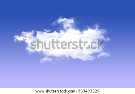 Single white cloud isolated over blue sky background - stock photo