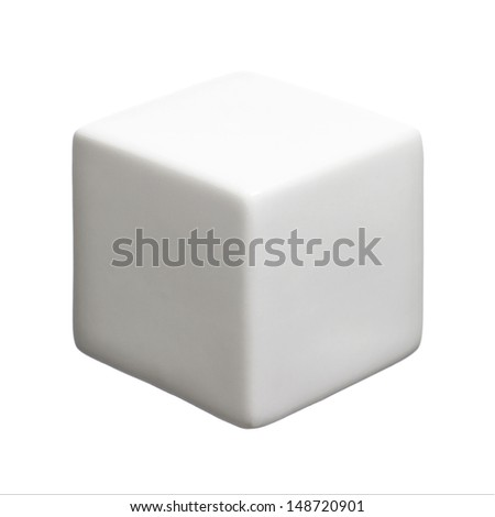 Single white cube isolated on white background with copy space. - stock photo