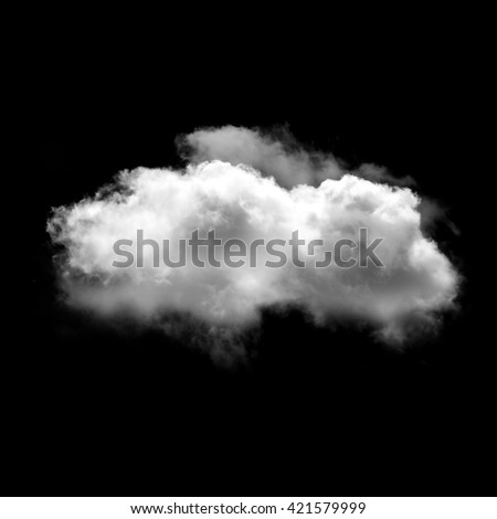 Single white fluffy cloud isolated over black solid background. Weather forecast - stock photo