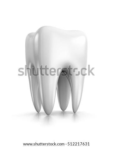 Single White Tooth on White Background 3D Illustration