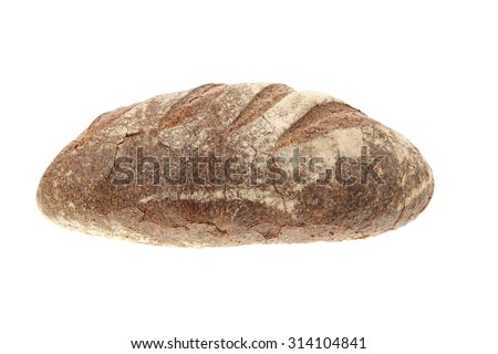 single whole full rye dark bread isolated on white background - stock photo