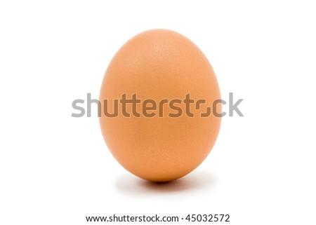 Single whole Hens Egg isolated against white background - stock photo