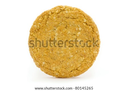 Single wholemeal biscuit isolated on white - stock photo