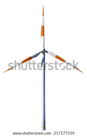Single wind generator on white background - stock photo