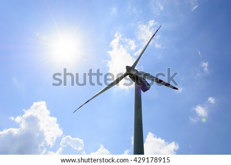 Single wind turbine in the field in Lublin region Poland