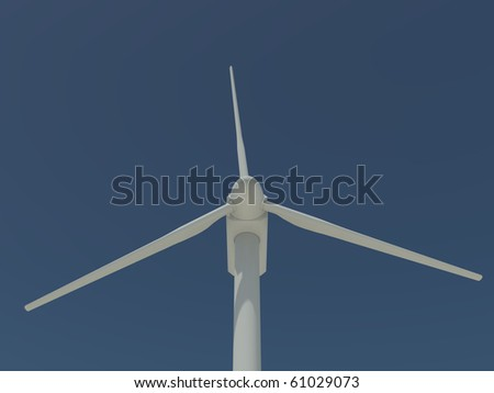 single windmill shown in close-up on a clear blue sky - stock photo