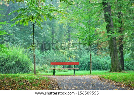 Single wooden bench in a forest park - stock photo