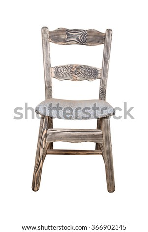 Single wooden chair isolated on the white background - stock photo