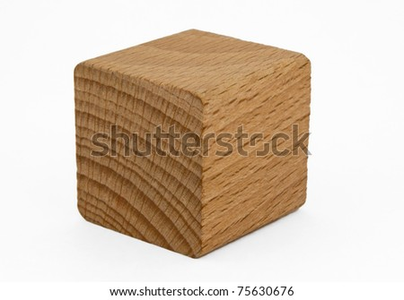Single wooden cube isolated on white background. Clipping path included. - stock photo