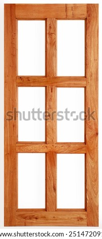 Single Wooden Door Isolated on White Background  - stock photo