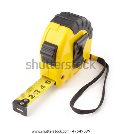 Single yellow and black tape measure, isolated over white - stock photo