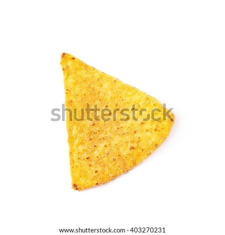 Single yellow corn tortilla chip isolated over the white background