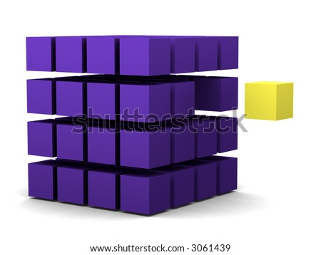 single yellow cubes escapes the group (innovation, escape, change) - stock photo