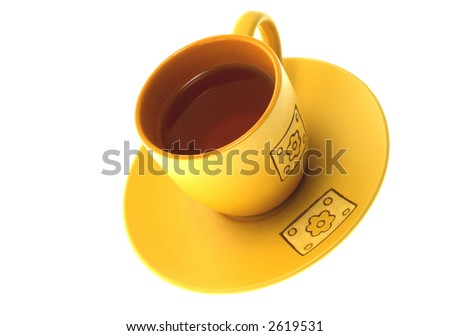 Single yellow cup on a white background - stock photo