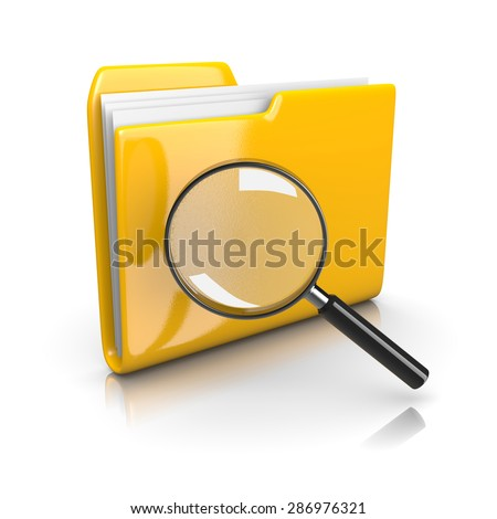 Single Yellow Document Folder with Magnifier on White Background 3D Illustration, Search Documents Concept - stock photo