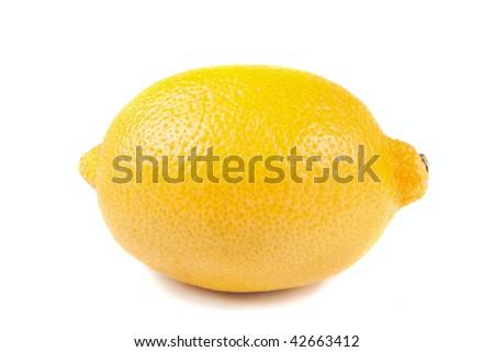 single yellow lemon isolated over the white background - stock photo