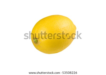 single yellow lemon over the white background