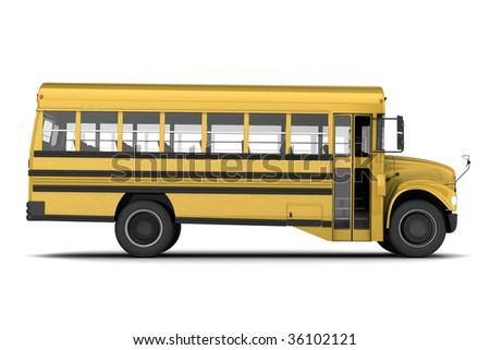 Single yellow school bus isolated on white background - stock photo