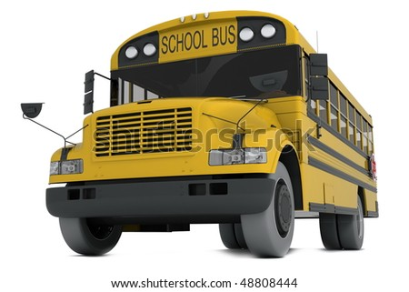 Single yellow school bus isolated on white background. - stock photo