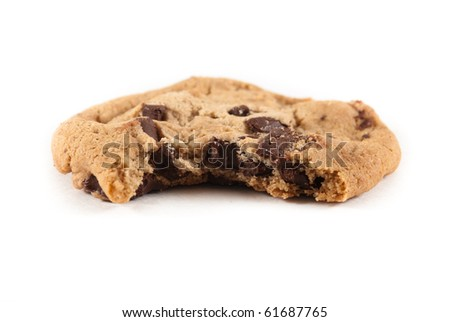 Singled chocolate chip cookie with bite taken out of it on white isolated background - stock photo