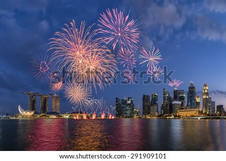 Singpore National Day ,Beautiful fireworks in Marina Bay - stock photo