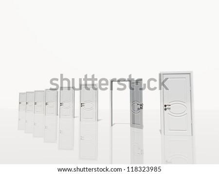 Sinigle open doorof several white door diangonaly receding in white space - stock photo