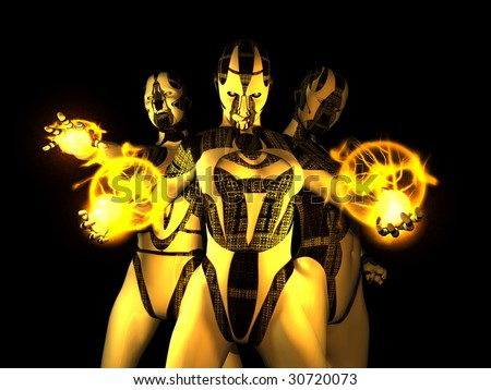 sinister evil cyborg group - stock photo