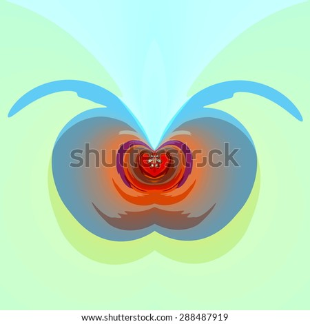 Sinister illustration concept. Digital artwork graphic. Modern art composition. Abstract round curve design. Psychedelic heart shape. Red scary devil face. High expression of emotion. Computer icon. - stock photo