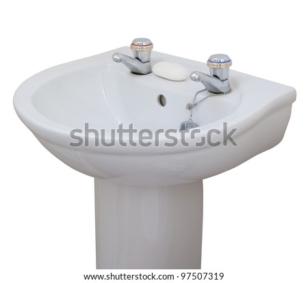 Sink isolated on white - stock photo