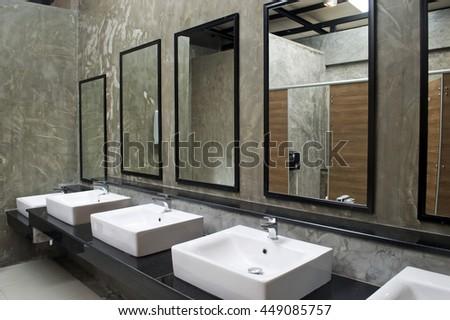 public bathroom mirror. Exellent Bathroom Sink With Mirror In Public Restroom In Public Bathroom Mirror A