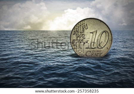 sinking cent - stock photo