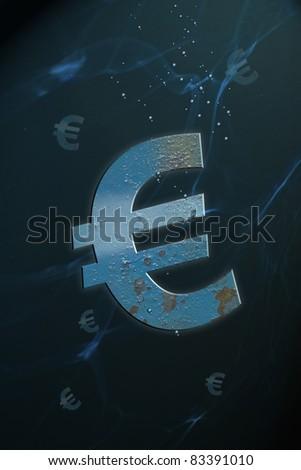 sinking euro - stock photo