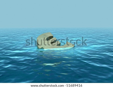 Sinking euro going down - stock photo