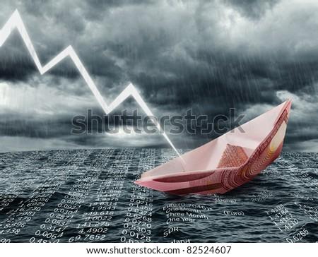 Sinking euro ship. Crisis concept - stock photo